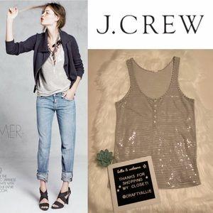 ✨ J. Crew Sequin Strip Henley Tank || Women's XS